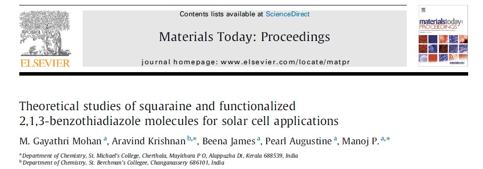 Theoretical studies of squaraine and functionalized 2,1,3-benzothiadiazole molecules for solar cell applications